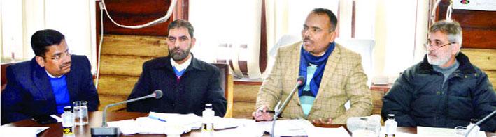 Secretary FCS&CA, Pandurang Kondbarao Pole chairing a meeting at Srinagar on Monday.