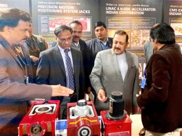 """Union Minister Dr Jitendra Singh going around different sections of India's first-ever multi-venue Mega Global Science Exhibition """"Vigyan Samagam"""", after formally inaugurating it, at National Science Centre, New Delhi on Tuesday."""