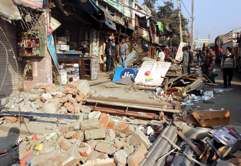 Smashed shops in Narwal area after JMC conducted demolition drive on Saturday.