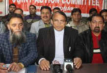 EJAC president, Babu Hussain Malik addressing press conference in Jammu on Thursday.