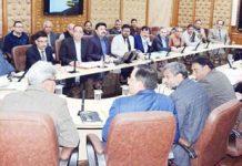 Chief Secy BVR Subrahmanyam reviewing arrangements for Shri Amarnath Ji yatra at a meeting in Jammu.