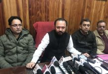 Ikkjut Jammu chairman, Advocate Ankur Sharma addressing a press conference at Jammu.