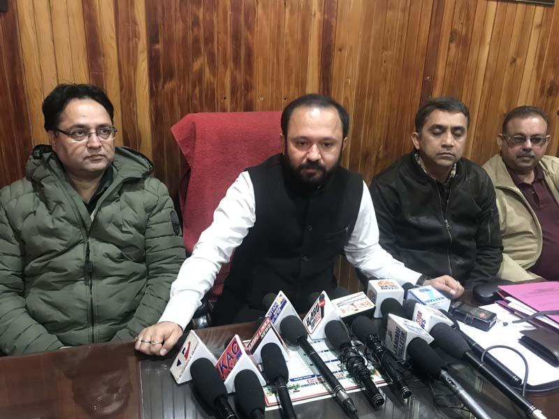 Ikkjut Jammu chairman, Advocate Ankur Sharma addressing a press conference at Jammu.