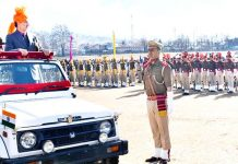 Deputy Commissioner Kishtwar inspecting Republic Day parade.