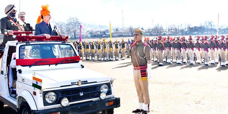 Deputy Commissioner Kishtwar inspecting Republic Day parade.