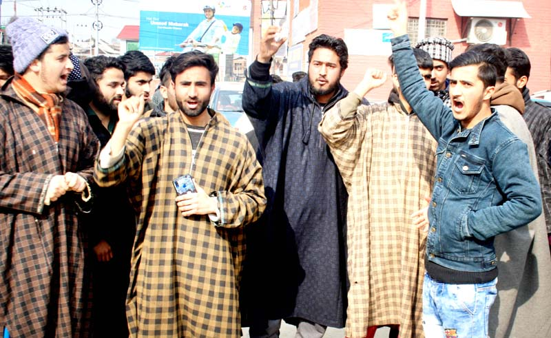 12th class students protesting at Press Enclave Srinagar. -Excelsior/Shakeel
