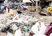 Garbage dump in front of shops at Meat Market Udhampur.
