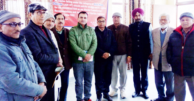 Newly elected office bearers of AIBCF at a meeting in Jammu.