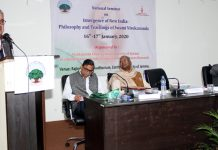 CUJ VC Prof Ashok Aima addressing during a seminar on teachings of Swami Vivekananda.
