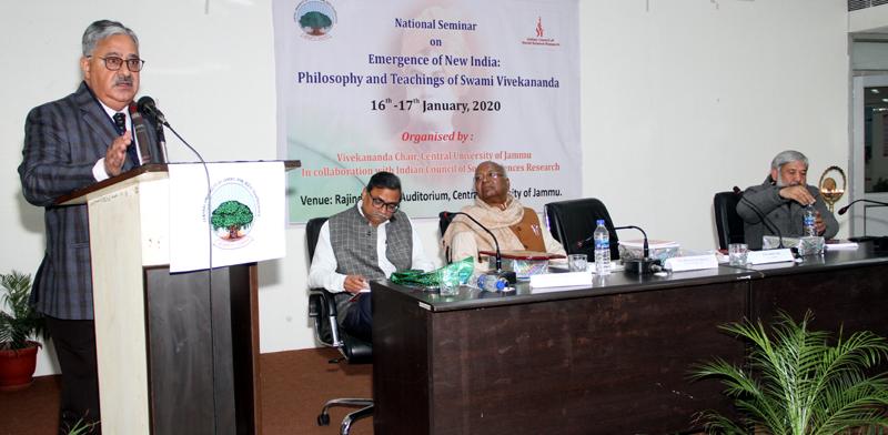 CUJ VC Prof Ashok Aima addressing during a seminar on teachings of Swami Vivekananda.