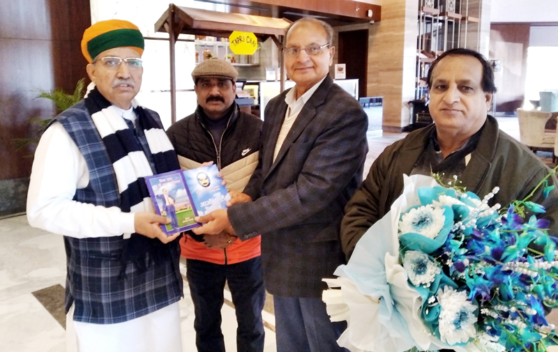 Union State Minister of Parliament Affairs, Arjun Ram Meghwal releasing Dr Gian Chand Dogra's book on Dr BR Ambedkar in Jammu.