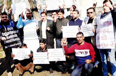 NPP leaders and activists staging protest against BJP Govt in Jammu on Monday.