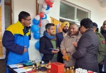 Union Minister Gen (Retd.) V K Singh inspecting stalls at Skyview Patnitop on Wednesday.