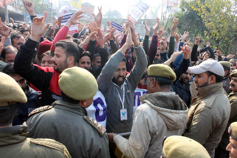Members of Khidmat Centres Association during a protest demonstration at Jammu.