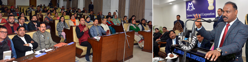 Lt Governor interacting with JMC Councillors on Friday.