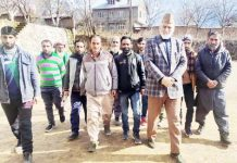 PCC vice president GM Saroori on visit to Drabshalla area of Inderwal on Monday.
