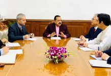 Union Minister Dr Jitendra Singh at a meeting with the Japanese delegation, led by recently appointed Ambassador of Japan, Satoshi Sizuki, at New Delhi on Wednesday.