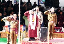 Lt Governor R K Mathur saluting National Flag at Leh.