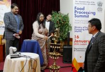 Joint Secretary, Ministry of Food Processing Industry Reema Prakash inaugurating the food processing summit in Leh on Thursday. —Excelsior/Morup Stanzin