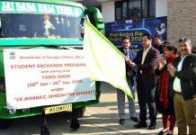 Commissioner Secretary School Education Hirdesh Kumar flagging off JK students to Tamil Nadu.
