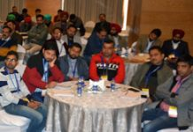 Commissioner Secretary School Education, Hirdesh Kumar interacting with participants of workshop in Jammu on Wednesday.