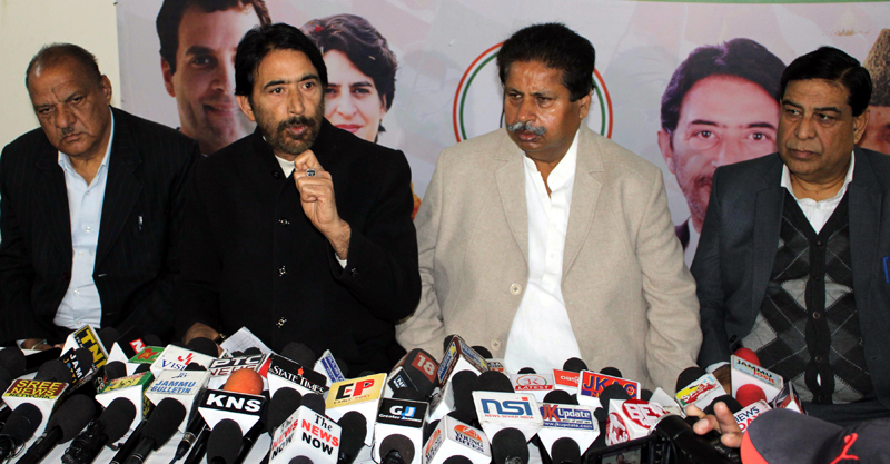 PCC chief GA Mir addressing press conference in Jammu on Friday. -Excelsior/Rakesh