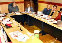 Dr Ashok Bhan, member Shrine Board chairing 28th Governing Body meeting of SMVD Gurukul at Jammu on Friday.