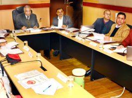 Dr Ashok Bhan, member Shrine Board chairing 28th Governing Body meeting of SMVD Gurukul at Jammu on Friday.