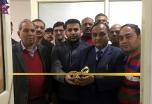 BBIA president, Lalit Mahajan inaugurating 'online facilitation centre' at Bari Brahmana on Friday.