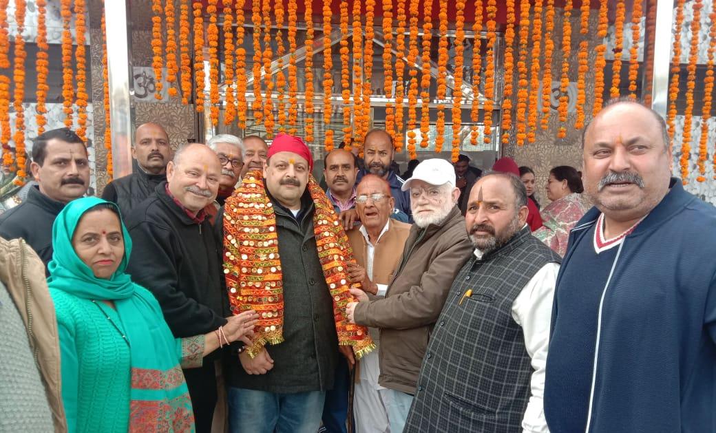 NC Provincial President Devender Rana paying obeisance at Bawa Ambo Ji Dev Sathan at Dansal on Tuesday.