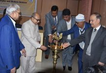 JU VC lighting ceremonial lamp during inaugural of Nalanda Dialogue series at Nava Nalanda Mahavihara University, Bihar.