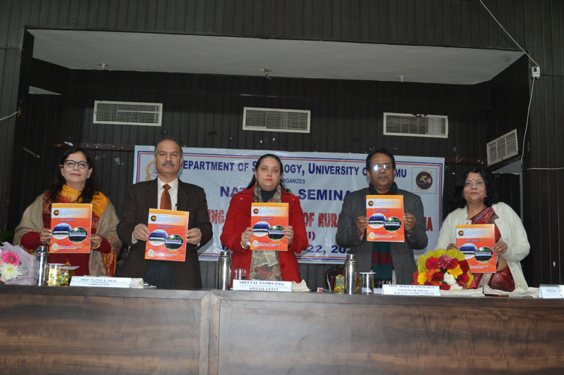JU VC, Secy RDD and others releasing book of abstracts during a seminar at Jammu University on Wednesday.