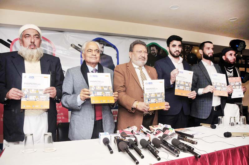 Management of Nizamia Education Group launching Scholarship Test Form at Jammu on Monday.