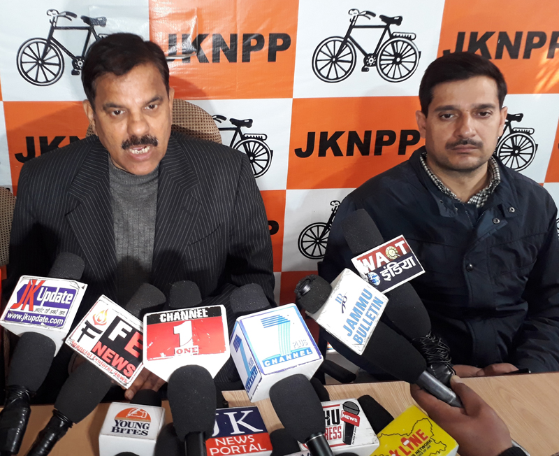 Harshdev Singh addressing a press conference at Jammu on Saturday.