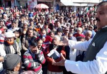 NPP chairman Harshdev Singh addressing public gathering at Ramnagar on Wednesday.
