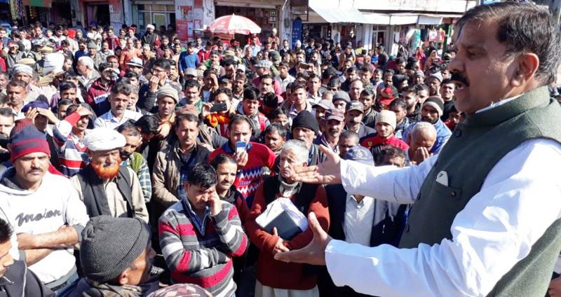 NPP chairman Harshdev Singh addressing public gathering at Ramnagar on Wednesday.