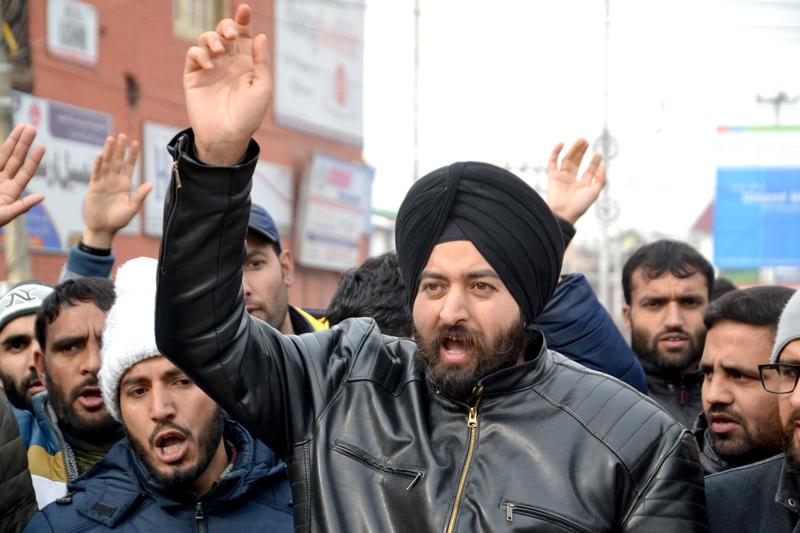 10+2 teachers staging protest in Srinagar on Friday. -Excelsior/Shakeel