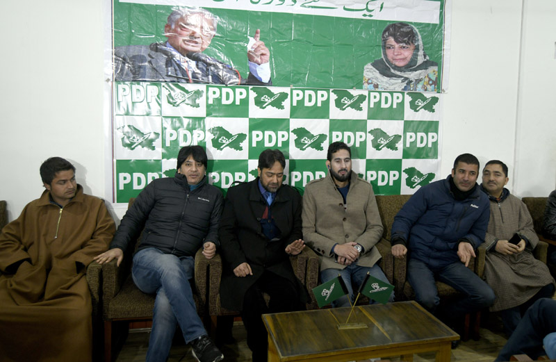 PDP youth wing leaders at party headquarters in Srinagar. —Excelsior/Shakeel