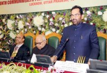 Union Minister for Minority Affairs Mukhtar Abbas Naqvi addressing the 7th Conference of CPA India Region on 'Enhancing Focus of Legislators on Legislative Business' at Uttar Pradesh Vidhan Bhawan in Lucknow on Friday. (UNI)