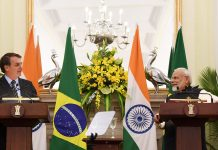 Prime Minister, Narendra Modi and the President of the Federative Republic of Brazil, Mr. Jair Messias Bolsonaro at the Joint Press Statements, at Hyderabad House, in New Delhi on Saturday.