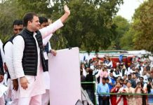 Congress MP Rahul Gandhi at a Yuva Akrosh Rally in Jaipur on Tuesday. (UNI)