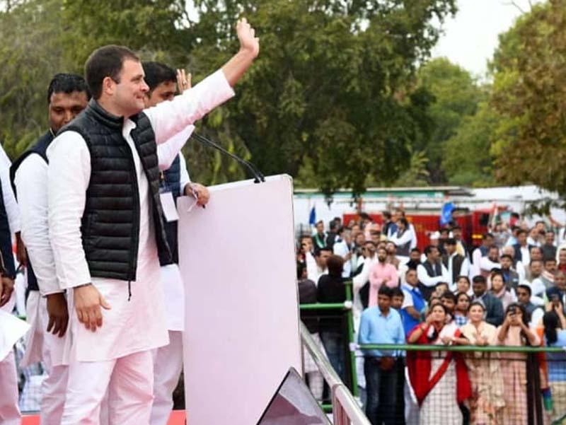 Congress MP Rahul Gandhi at a Yuva Akrosh Rally in Jaipur on Tuesday. (UNI)