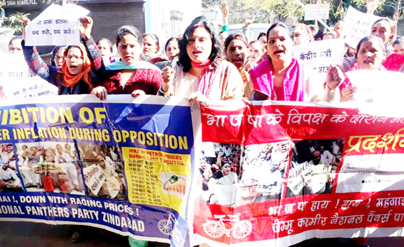 Activists of Women Wing of NPP during a protest demonstration at Jammu on Sunday.