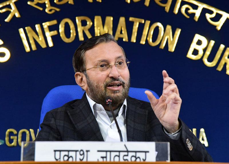 Union Minister for Environment, Forest & Climate Change, Information & Broadcasting and Heavy Industries and Public Enterprise, Shri Prakash Javadekar briefing the media on Cabinet Decisions, in New Delhi on Wednesday.