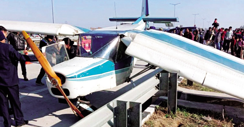 Aircraft makes emergency landing at Eastern Peripheral Expressway Near Delhi on Thursday.