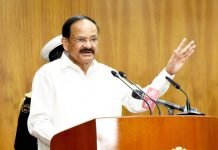 Vice President M. Venkaiah Naidu addressing the gathering after releasing the book titled, 'TRG-An Enigma', in New Delhi on Monday. (UNI)