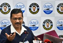 Delhi Chief Minister AAP convenor Arvind Kejriwal addresses a press conference at the party headquarters, in New Delhi.