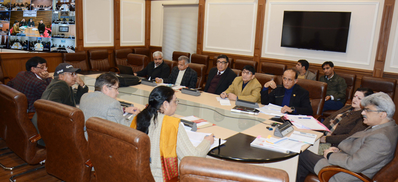 Financial Commissioner Health and Medical Education Atal Dulloo chairing a meeting at Jammu on Thursday.