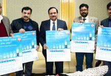 Advisor R R Bhatnagar releasing calendar in Jammu on Thursday.