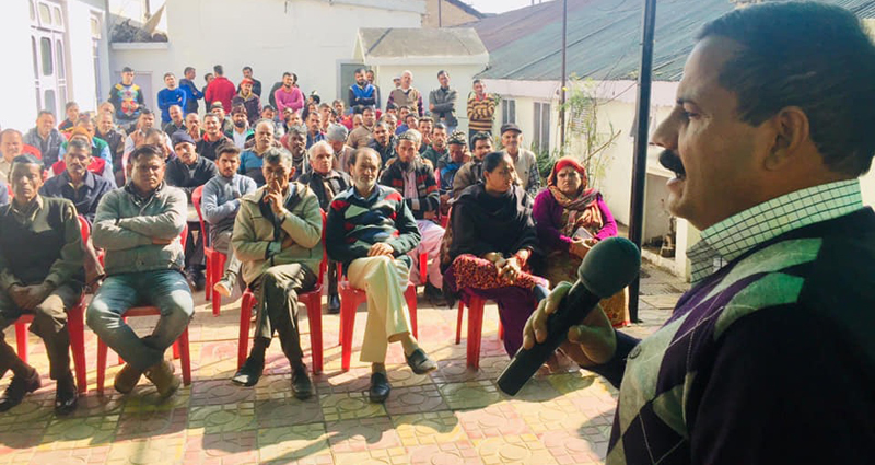 Balwant Singh Mankotia addressing JKNPP workers at party office in Udhampur on Thursday.